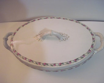 Vintage China Soup Tureen marked T K China Czechoslovakia