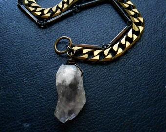 catalyst - pale amethyst on vintage chain bracelet - witchy unisex layered bracelet