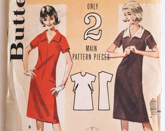 Vintage 1960's Womens Zip Front Collared Shirt Dress Pattern Size 16 Bust 36 Butterick 3060