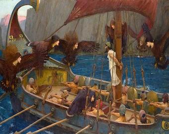 John William Waterhouse: Ulysses and the Sirens. Fine Art Print/Poster (00852)