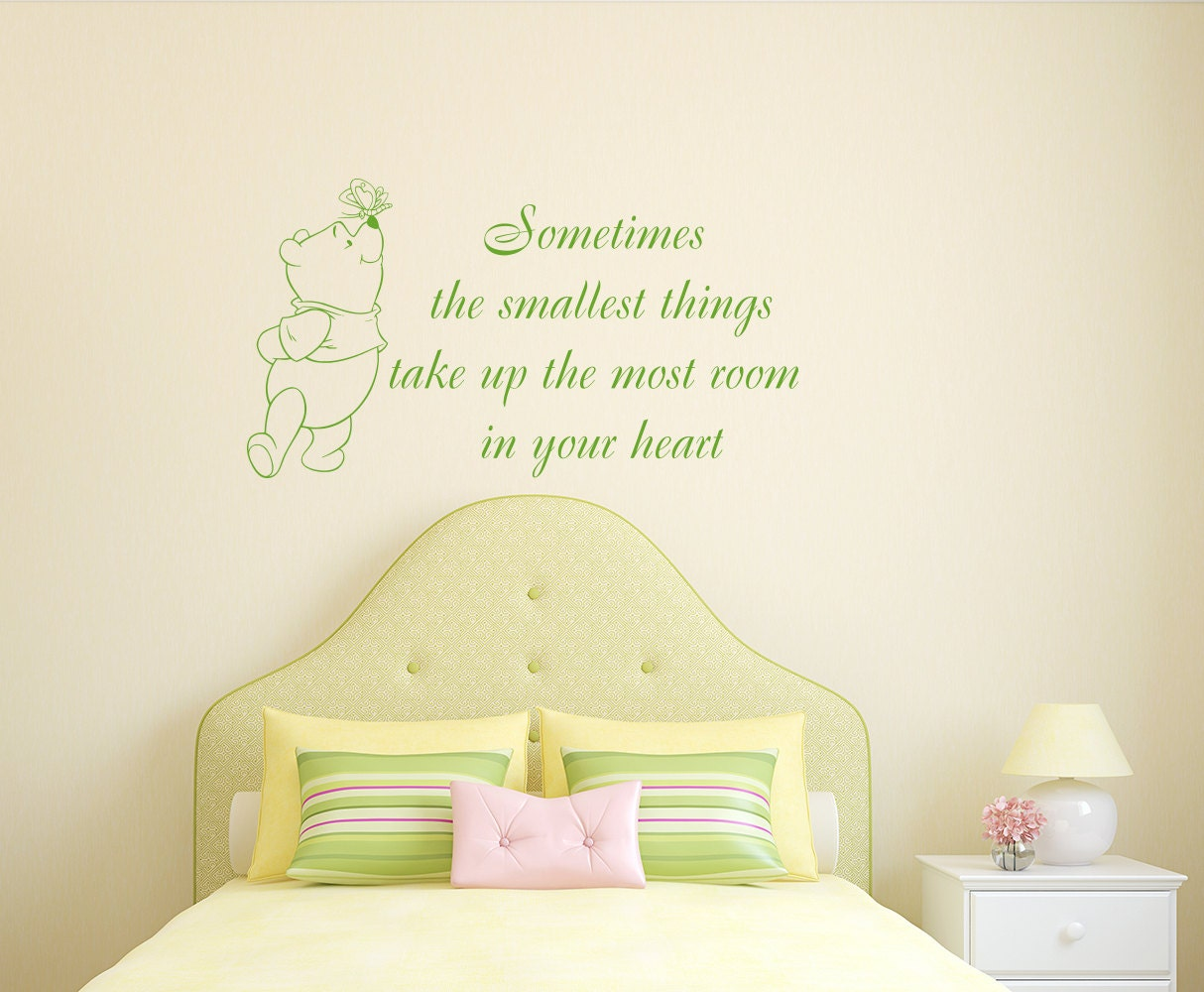 Winnie The Pooh Wall Decals Nursery Quote Small Thing in Heart
