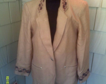 Woman's Vintage Western Blazer, size Lg. 10 to 12, by Saddle Ridge, Womans Tan Blazer, Womans Western Jacket,  Southwestern Blazer Lg,