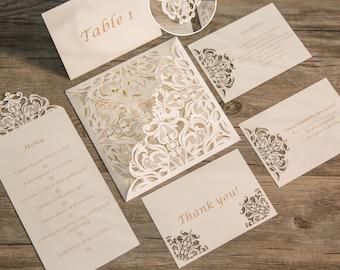 Lace Laser Cut Wedding Stationery Set  | Laser Cut Pocket Fold | Custom Belly Bands | Invitation Suite | Matching Set | Wedding Stationery
