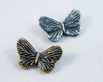 Black butterfly brooch polymer clay Butterfly Jewelry Black silver Butterfly pins Black gold Butterfly wing brooch Insect pins