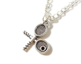Tennis Racket Charm Necklace, Silver Tennis Racquet Necklace, Metal Pendant Necklace, Sporty Gift, Teen and Women's Jewelry, Gift Idea