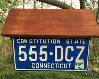 Handmade, Handcrafted Connecticut License Plate Condo Birdhouse: Two Birdhouses in One!