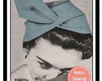 1950s  Hat Pattern - PDF Sewing Pattern - Instant Download