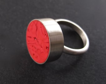 Bright red and sterling silver ring, eco friendly recycled plastic and recycled sterling silver statement ring, red resin statement ring