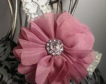 Mauve headband, mauve hair flower, mauve flower on a cream lace headband, antique pink hair flower, girls headband, soft headband