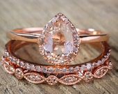 Sale on 2.25 carat Pear shape Morganite and Diamond Halo Trio Bridal Wedding Ring Set Antique Vintage Design Milgrain in Rose Gold for Women