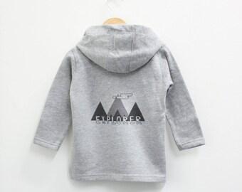 Mountain design 'explore' kids zip hoodie