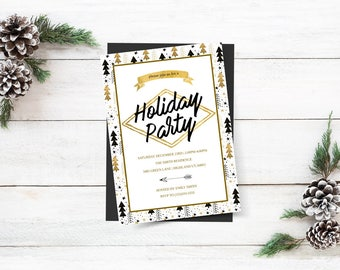 Gold Floral Christmas Invitation, Holiday Party Invitation, White Christmas, Glitter Gold  Floral, Christmas Party Invitation Download