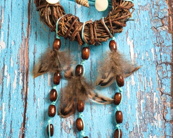 Brown Turquoise Dream Catcher, small dreamcatcher, rustic decor, bedroom decor, boho style, wall hanging, wall decor, handmade dreamcatcher