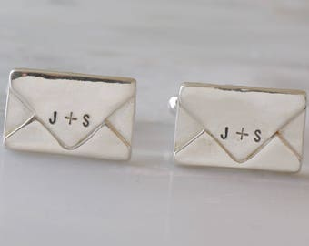 Sterling Silver Envelope Cuff links, Envelope Jewelry, Wedding Cufflinks, Anniversary Gift, Love Letter Cufflinks, Wedding Gift, Grooms Gift