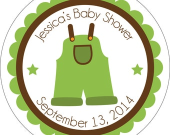 Personalized Glossy Neutral (or girl/boy) Baby Shower Stickers - many designs to choose from - can change colors, wording, etc.  BR-006