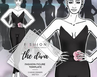 The Diva   Fashion Template, Fashion Illustration, Croquis, Fashion drawing