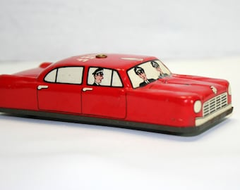 Argo Tin Lithograph Toy Car Made in Japan, 1950's Fire Chief Car