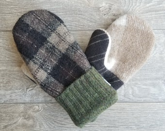 Best Wool Sweater Mittens // Womens Sweater Mittens // Fleece Lined mittens // Brown  and Green Plaid