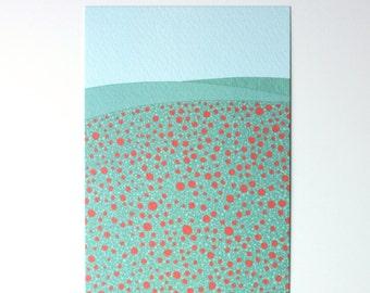 SALE / Poppy Field print / A6 print / Mini art print / Illustration / Contemporary art / Postcard / spring card / poppy field