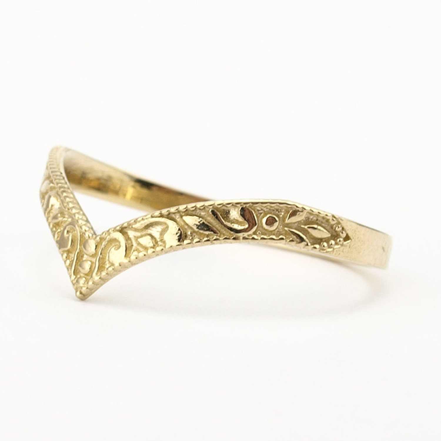Gold Wedding Band Stacking Ring Curved Pointy