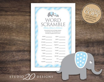 Instant Download Blue Elephant Word Scramble Baby Shower Game Cards, Printable Word Scramble for Boy, Baby Blue Grey Striped Game Card 22C