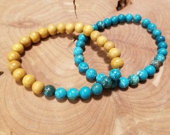 Beach Love * Wood and Turquoise Bracelet