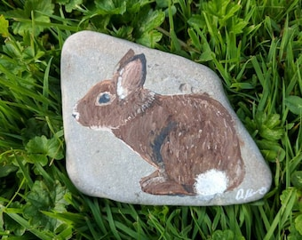 Original acrylic painting on rock, Field Bunny by Darian
