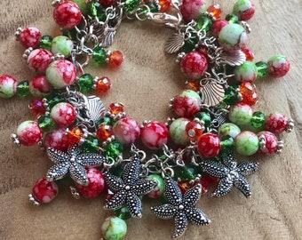 Chunky Bracelet  Handmade Starfish Seashell Summer Nautical Beach Vacation Charm Charms  Beads Fits 7 to 9 inch Wrist