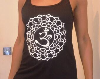 Yoga Vest Tank Top, Black, 100% Cotton, Semi-fitted, OM Crown Chakra