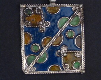 Blue Rectangular Enameled Berber Pendant - African  Pendant - Jewelry Making Supplies - Made in Morocco + (PND-BRB-109A)