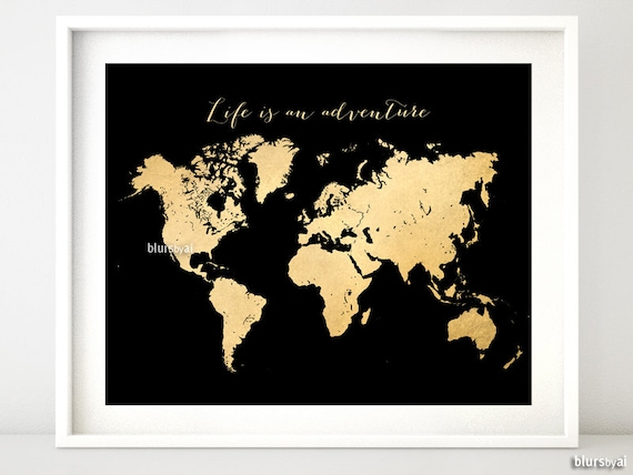Printable world map vintage faux gold foil map life is gumiabroncs