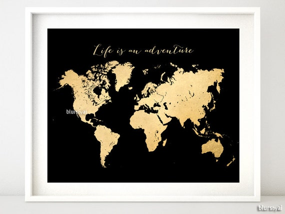 Printable world map vintage faux gold foil map life is gumiabroncs Image collections