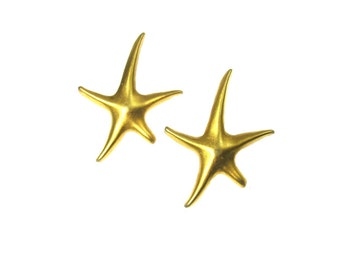 Star Fish earrings - beach jewelry - nautical jewelry - Gold earrings -   gift for her - # J 5
