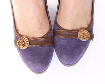 Amazing Violet Kid Suede Leather Wedges Shoes