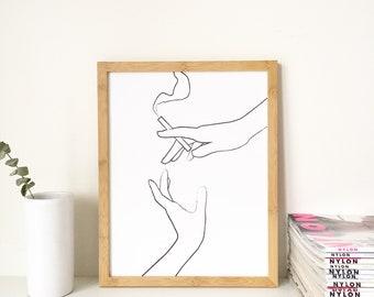 """Black and White Print 11x14"""" Black and White Art, Cigarette Art, Minimal Art Print"""