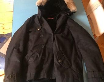 Comptoir des Cotonniers - Black jacket with furry hood - Sz: 36/XS
