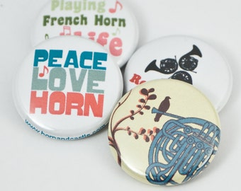 French Horn Pinback Buttons or Magnets - size one inch - HRN 3
