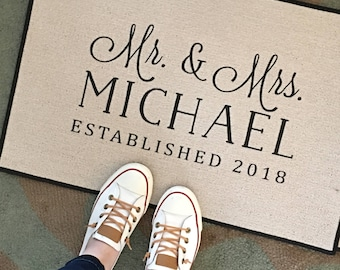 Mr and Mrs Personalized Door Mat Wedding Gift, Monogrammed Decorative Door mat, Area rug by Be There in Five