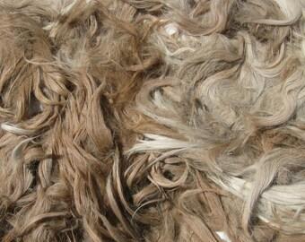 Toison d'alpaga Suri, Raw, Unwashed, pour les cheveux de poupée et filature, 8 onces de Mochie fauve