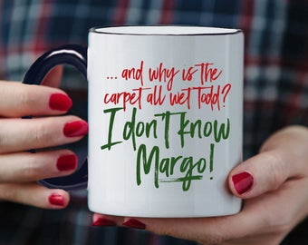 Todd Margo Coffee Mug - Why is The Carpet All Wet Todd - I Don't Know Margo - Funny Cross Stitch Cup - 11 oz Ceramic Mug - Item 4064