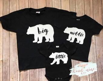 Big Middle Little Bear Shirts, Big Bear Shirt, Little Bear Shirt, Sibling Shirts, Brother and Sister Bear Shirts, Cute family shirts, baby