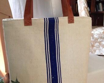 Tote Bag Grain Sack Bag Tote blue grain sack bag grain sack tote