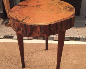 Rustic live edge side table or stool