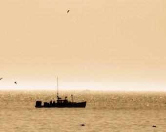 Lobster Boat, Ocean Photography, Maine Coast, Morning, Acadia National Park, Fishing Boat, Bar Harbor, Neutral, Sepia Art Print