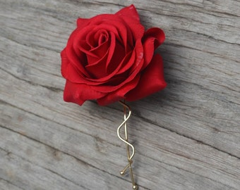 Wedding Flower Hair Clip-Real Touch Red Rose Hair Clip, Rose Hair Clips, Bridal Hair Flower, Flower Girl Hair Pin