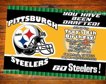 Steelers invitation etsy custom digital or printed pittsburgh steelers birthday party invitation filmwisefo