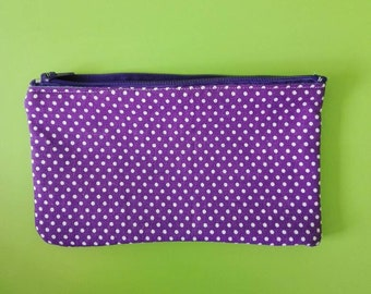 makeup case, makeup pouch, cosmetic bag, trousse make up, pencil case, desk accessories, pencil pouch,  pois, purple, white pois, ooak