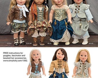 """Simplicity Crafts 1392 SteamPunk new uncut pattern 18"""" American Girl doll clothing & accessories My Twinn Victorian Downton Abby style"""