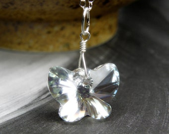 Clear Crystal Butterfly Necklace, Swarovski Crystal Pendant, Sterling Silver Chain, Teen Girl Gift, Spring Jewelry, Handmade Christmas