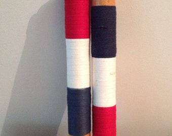 Vintage JUMBO wood bobbins patriotic red white and blue thread Americana